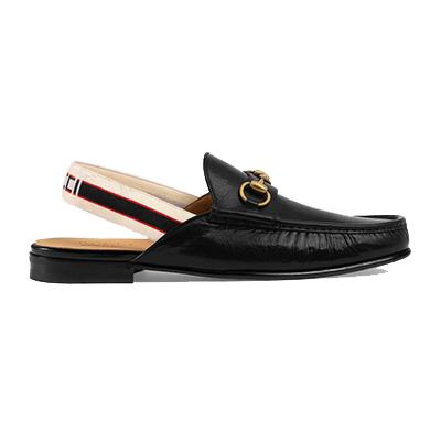 グッチ メンズ 靴 ストライプ スリングバック スリッパ 画像