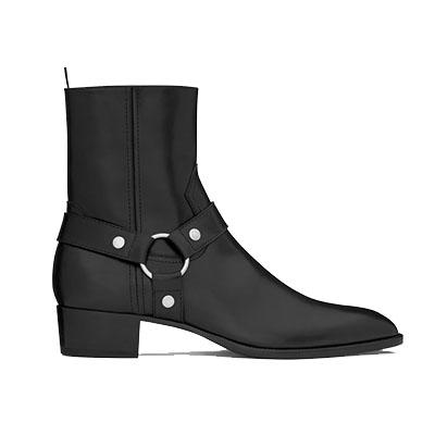 サンローランパリ ブーツ クラシック ワイアット ハーネス レザーブーツ 画像